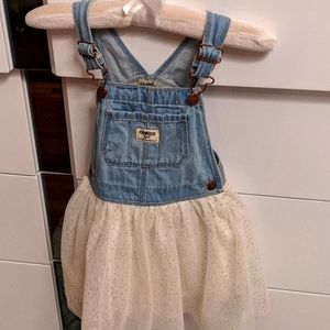 Girls dress sparkle white with gold dots